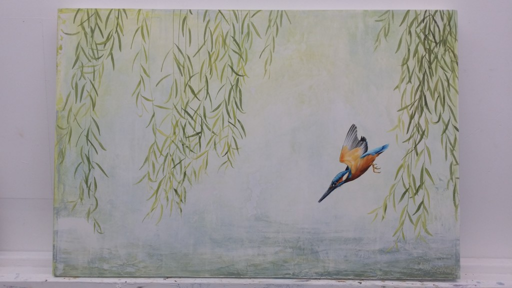 Plaster in the background, layered with metallic paints create a soft backdrop to the willow and the Kingfisher
