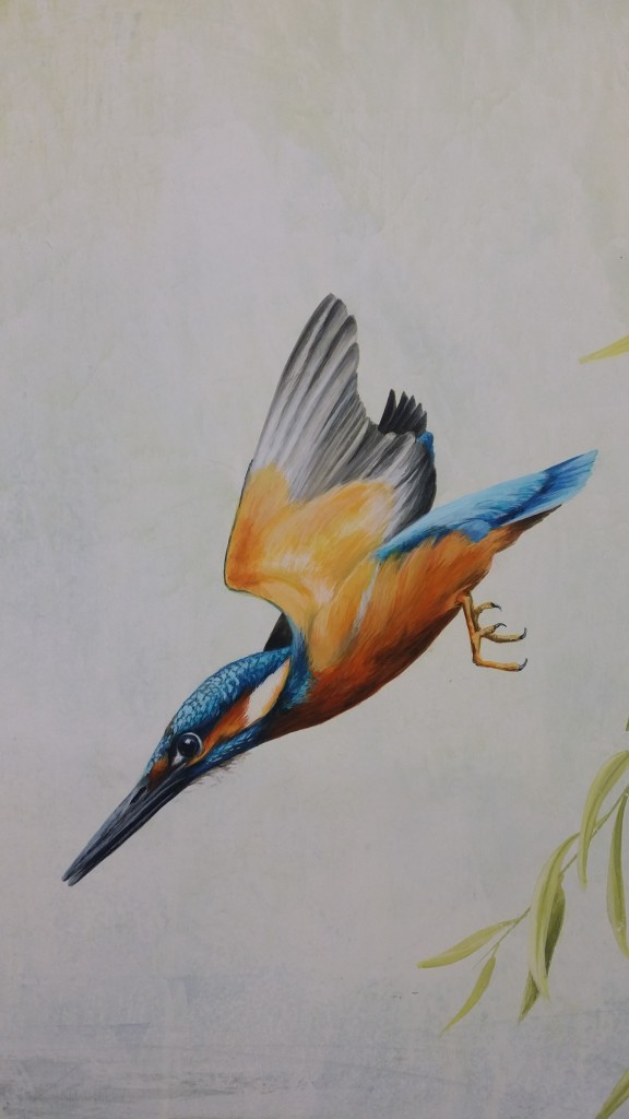 Here is a close up of the acrylic glazing of the kingfisher