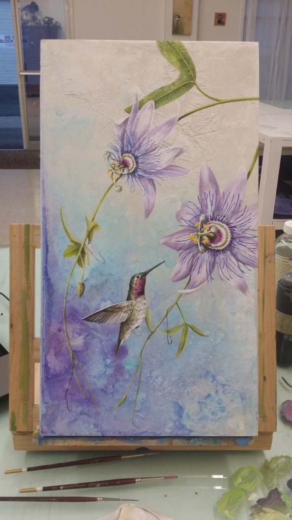 Passion Flower and Hummingbird